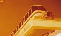A time lapse picture of a monorail on the traverser sometime in 1988.