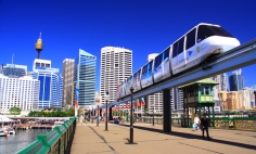 Sydney Monorail across Pyrmont bridge with City skyline